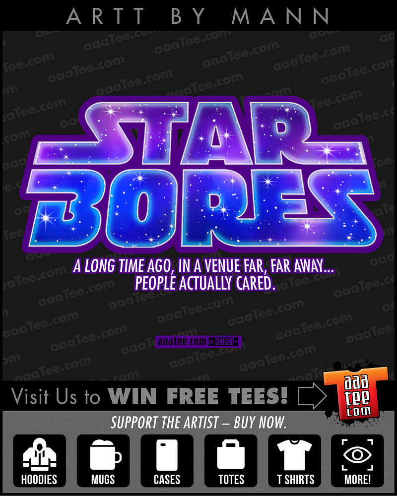 Parody spoof of STAR WARS movie title treatment - STAR BORES