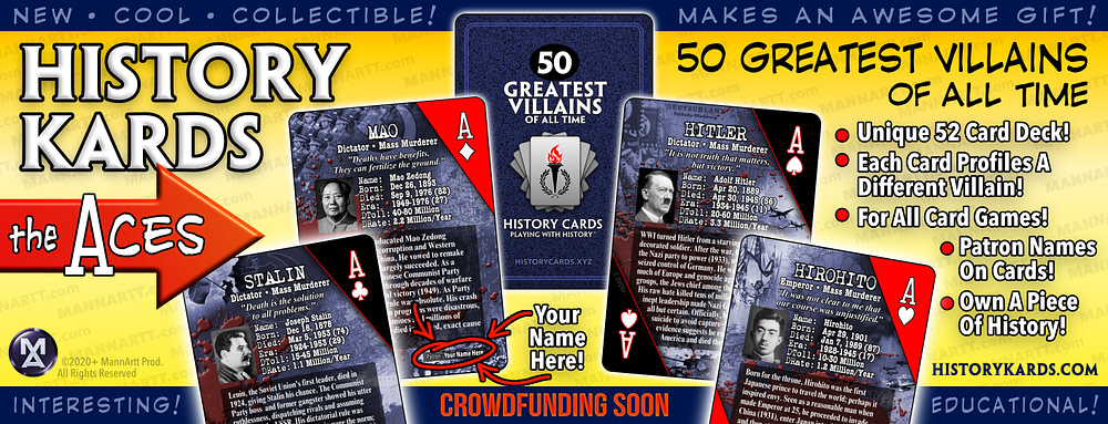 Graphic showing the Aces from the first deck of History Kards.