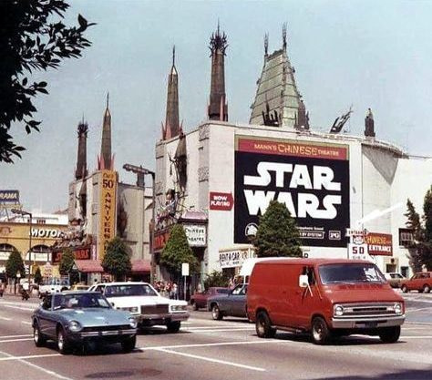 star wars mann's chinese theater from hollywood blvd 1977