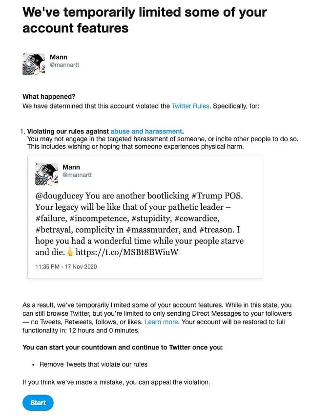 Screenshot of Twitter Censorship Notice.