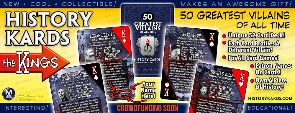 Graphic showing the Kings from the first deck of History Kards.