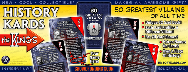 Graphic showing the Kings from the first deck of History Kards. But the question is, do we crowdfund now, crowdfund later, or crowdfund not at all?