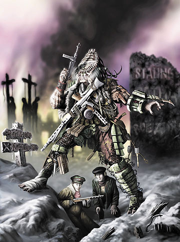 The painting depicts a Predator standing in the ruins of Stalingrad, winter of 42-43, with two humans he appears to have befriended.