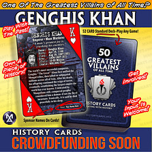 Promotional Artwork for HISTORY CARDS – THE 50 GREATEST VILLAINS OF ALL TIME