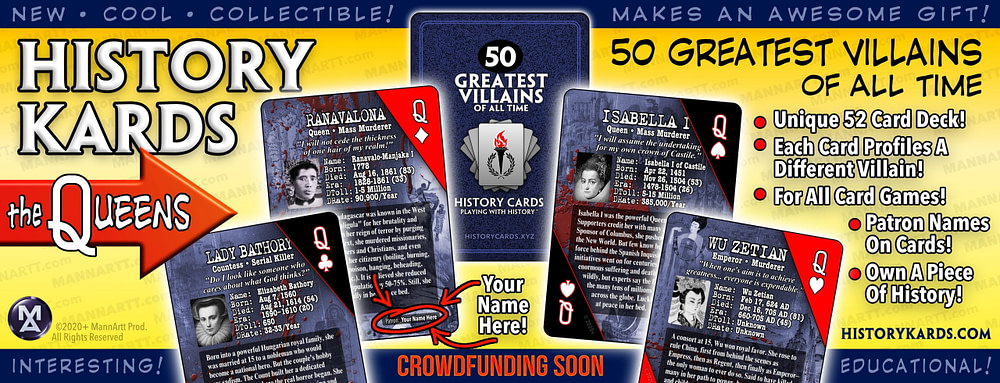 Graphic showing the Queens from the first deck of History Kards.