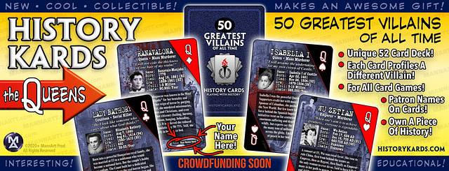 Graphic showing the Queens from the first deck of History Kards. But the question is, do we crowdfund now, crowdfund later, or crowdfund not at all?